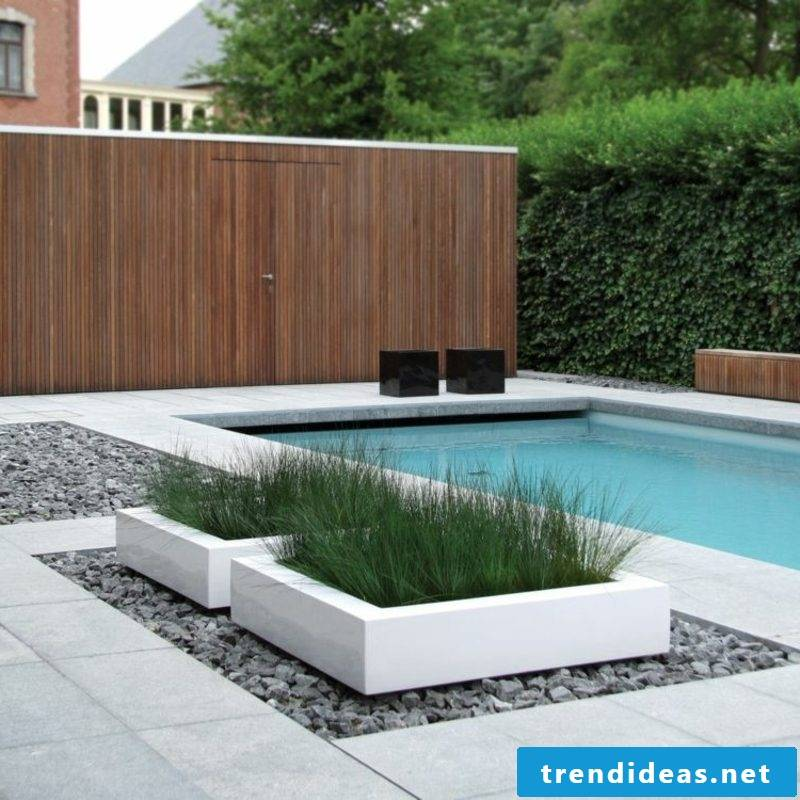 concrete planter pool pebble floor paving stones design
