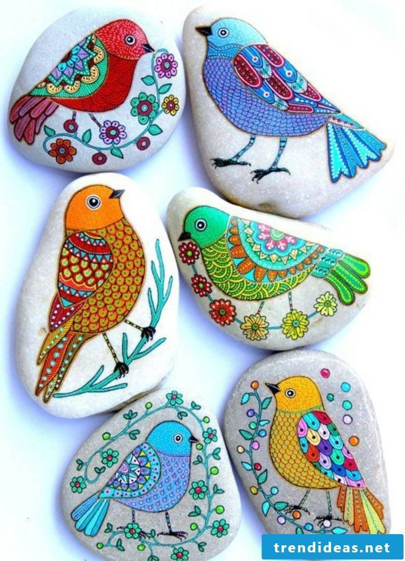 painted stones painted birds