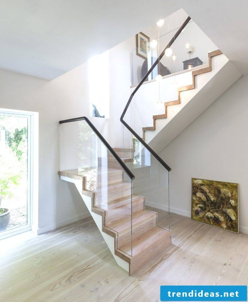 Stair rails yourself build DIY ideas from glass