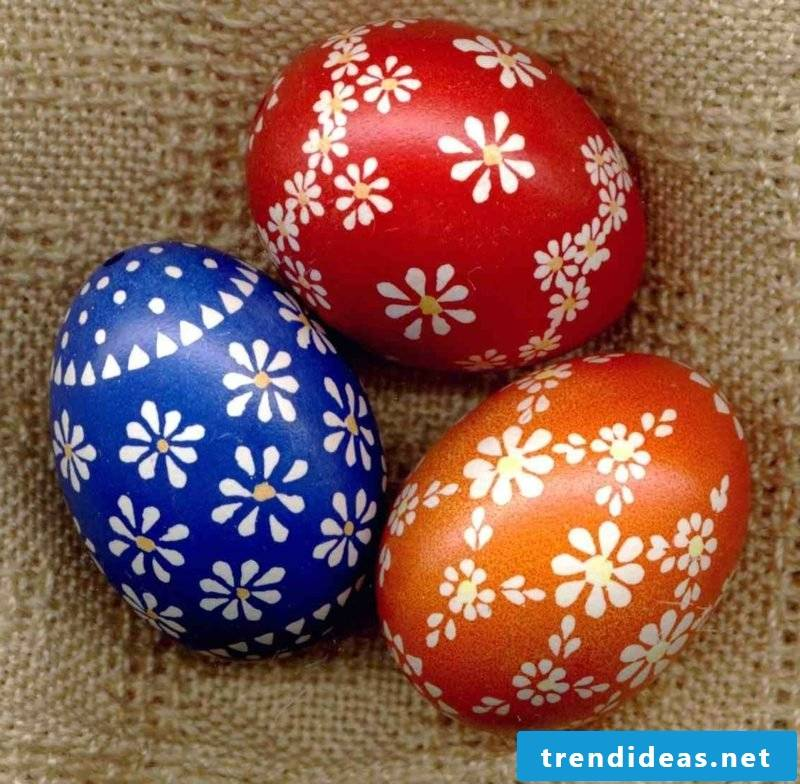 Sorbian easter eggs with floral motifs wax reserve technique