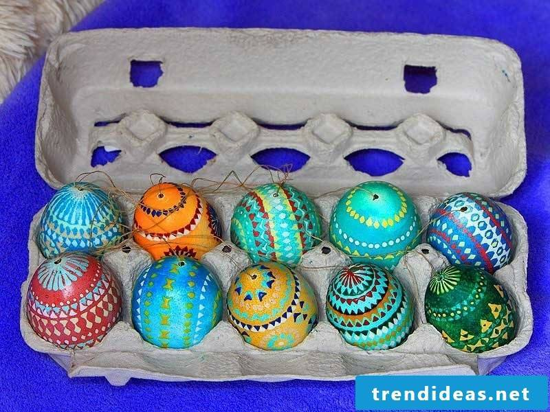 Sorbian easter eggs blown out creative decoration ideas