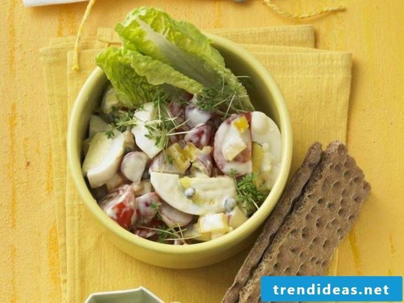 Egg salad vegetarian with radishes