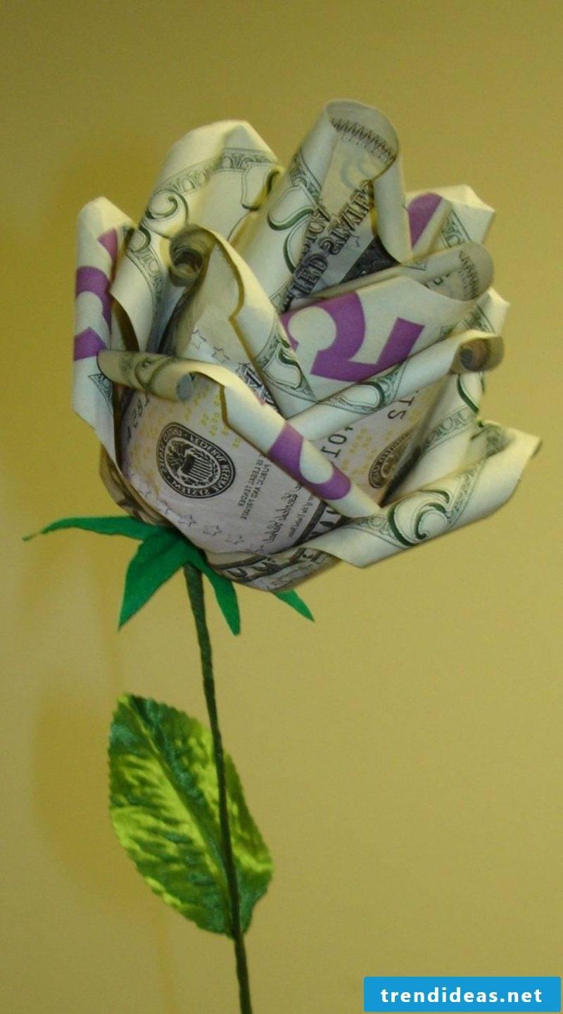 origami rose instruction money