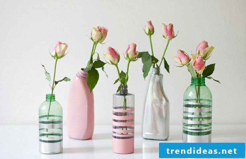 Upcycling ideas DIY colorful vases