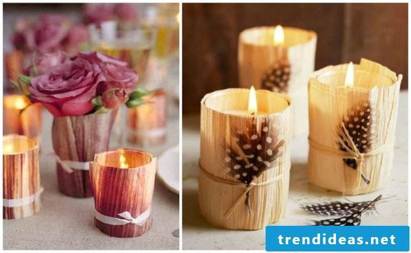 Table decoration Autumn tealight holder with corn leaves decorate