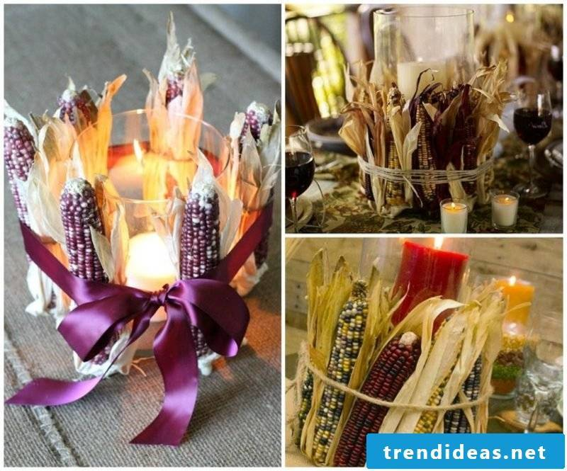 Table topped autumn ideas with corn on the cob