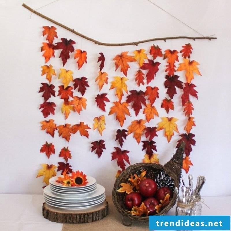 Autumn decoration modern garland of autumn leaves