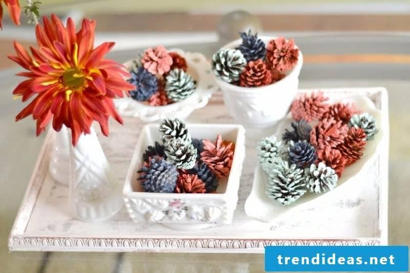 Autumn table top pine cones