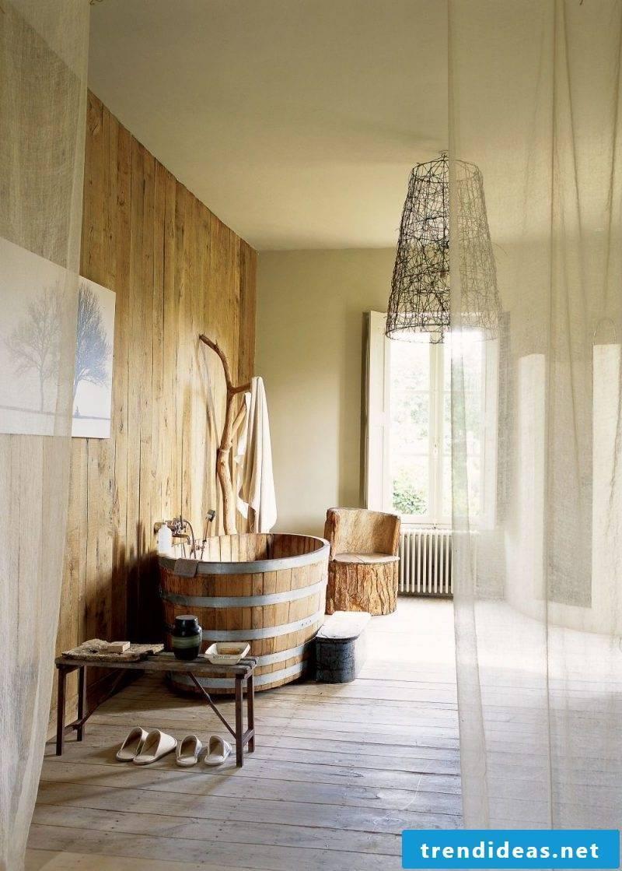 Badgetaltung ideas in bright warm colors wood optics wall