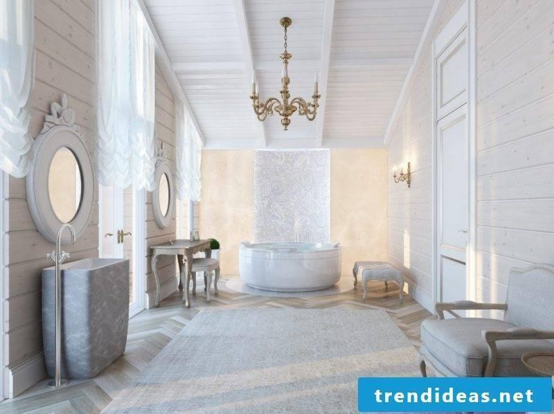 bathroom design ideas for elegant luxury bathroom in white nuances with beautiful ornaments