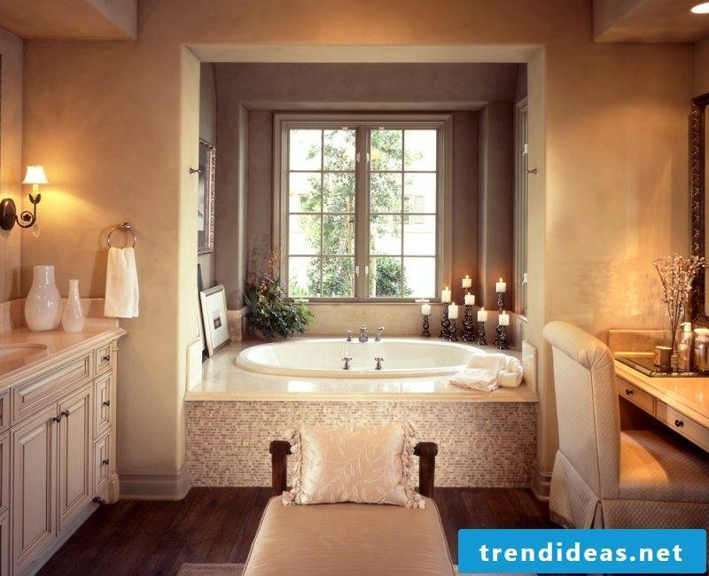 badgetsaltung ideas for a luxury bathroom with a cozy atmosphere and soft light over the bathtub