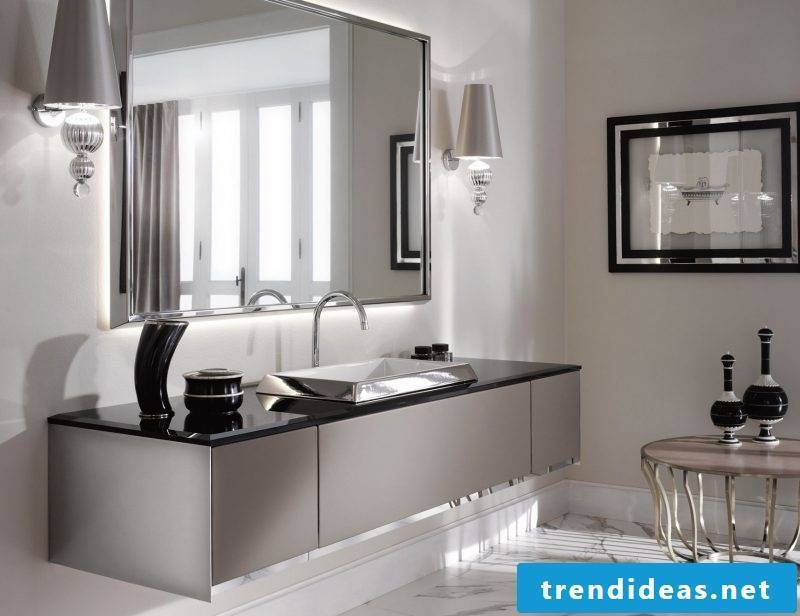 Badgetaltung ideas with domernem italian mirror in clear gray color
