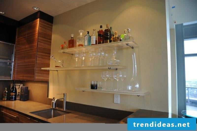 Glass shelves bar kitchen