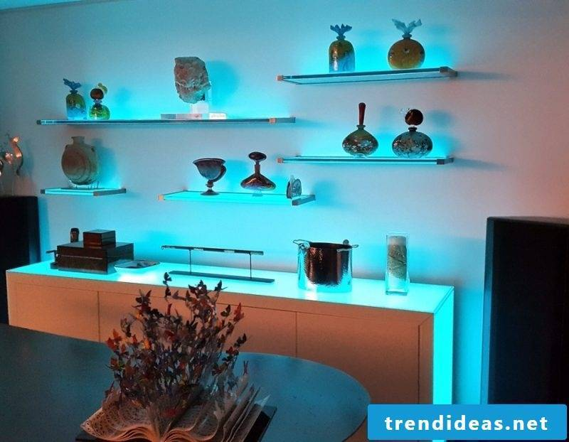 Glass shelves LED lighting