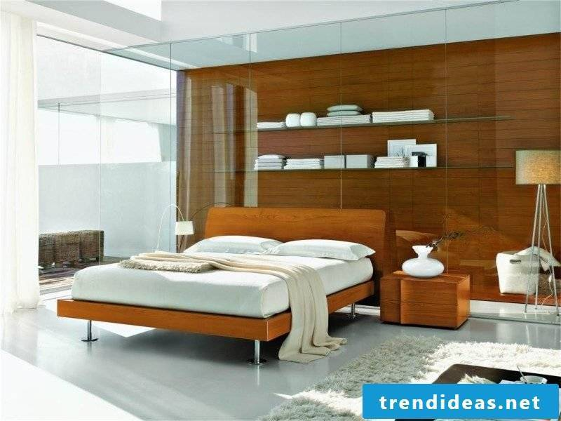 Glass shelves bedroom design