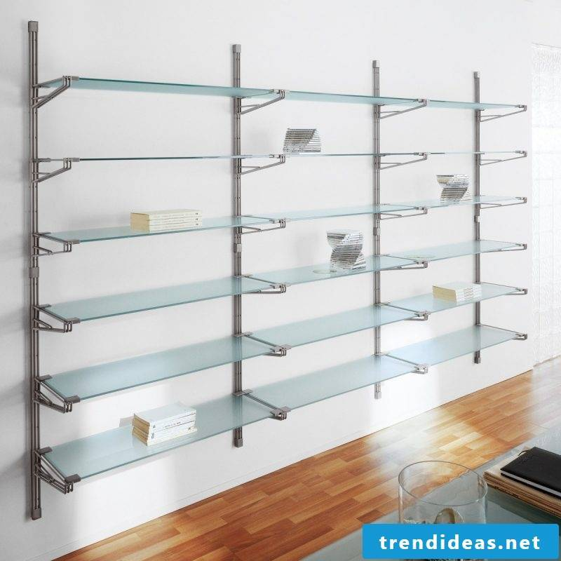 Glass shelves wall