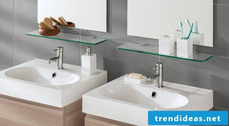 Glass shelves in the bathroom