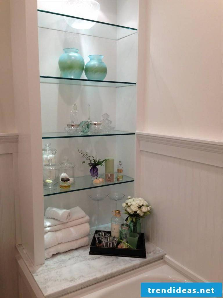 Glass shelves bathroom niche