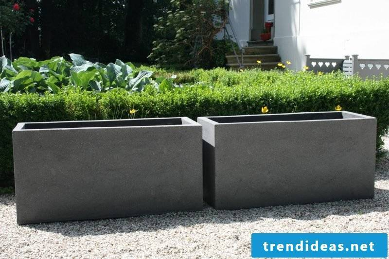 Concrete planter plant trough fiber cement gray maxi