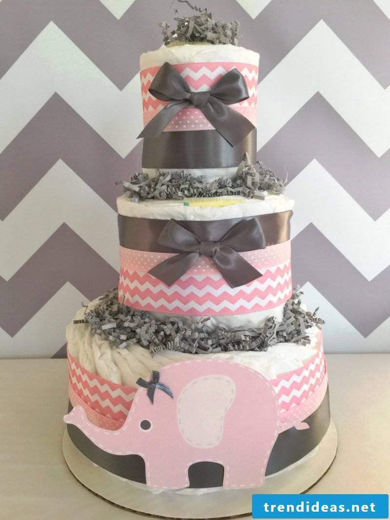 manual diaper cake-pink-girl