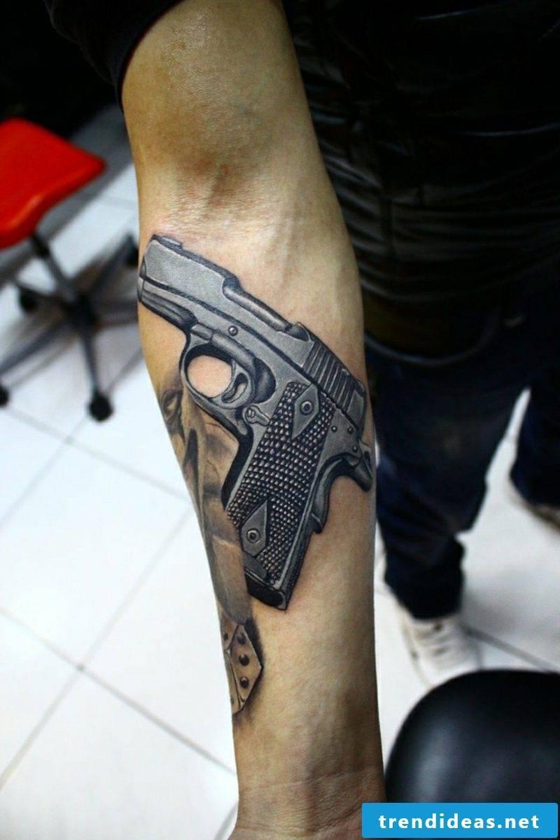 Tattoo templates men pistol forearm