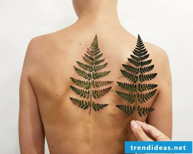 3D tattoo woman leaf ferns