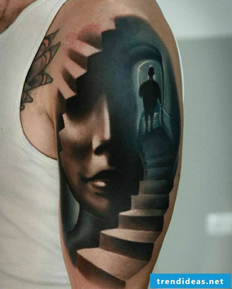 Tattoo shoulder man 3D abstract