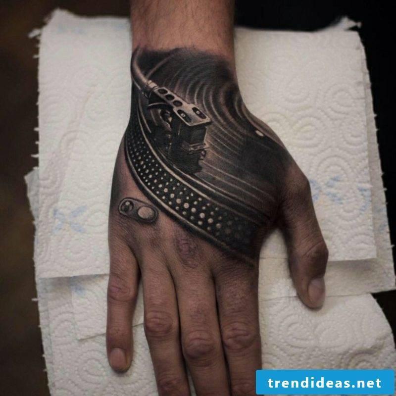 Men Tattoos 3D Hand Turntable