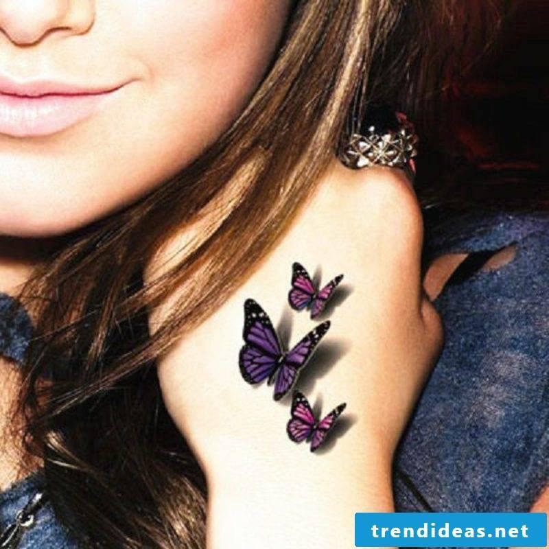 3D tattoos woman butterflies