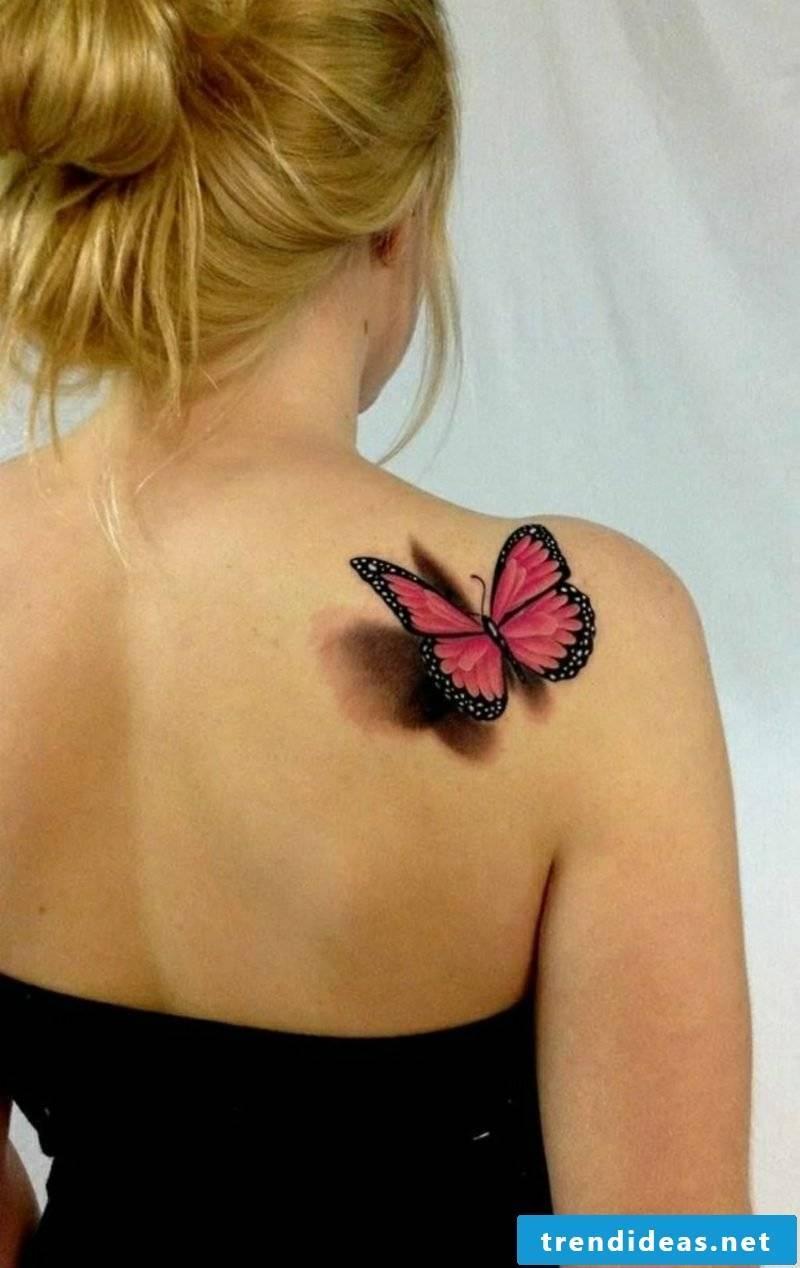 Tattoo shoulder 3D butterfly