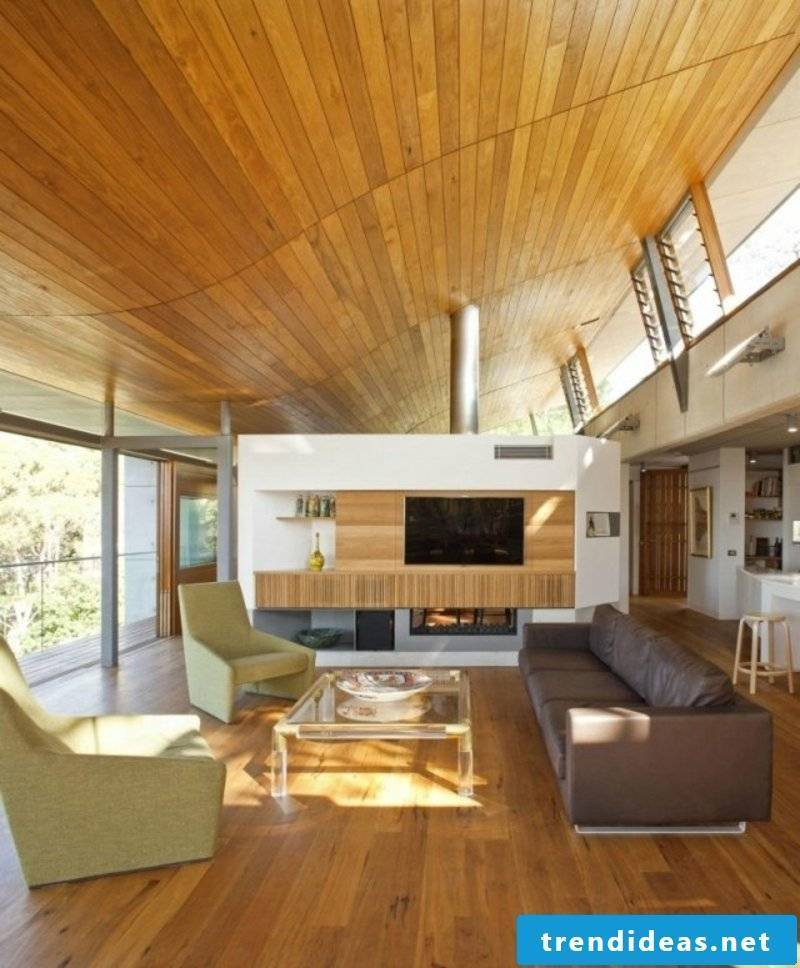 Ceiling wood paneling living room