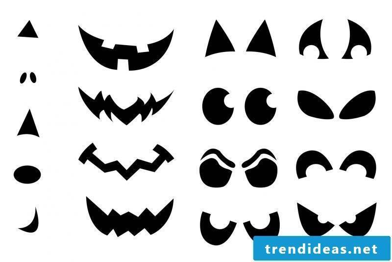 Pumpkin templates for eyes and mouth