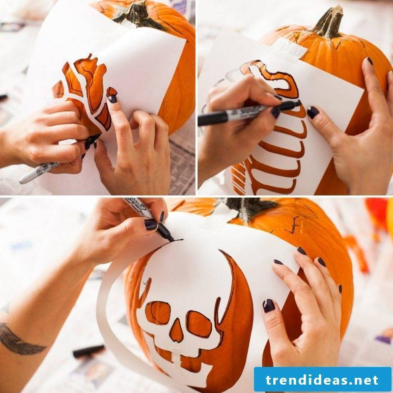 Follow the instructions with pumpkin templates