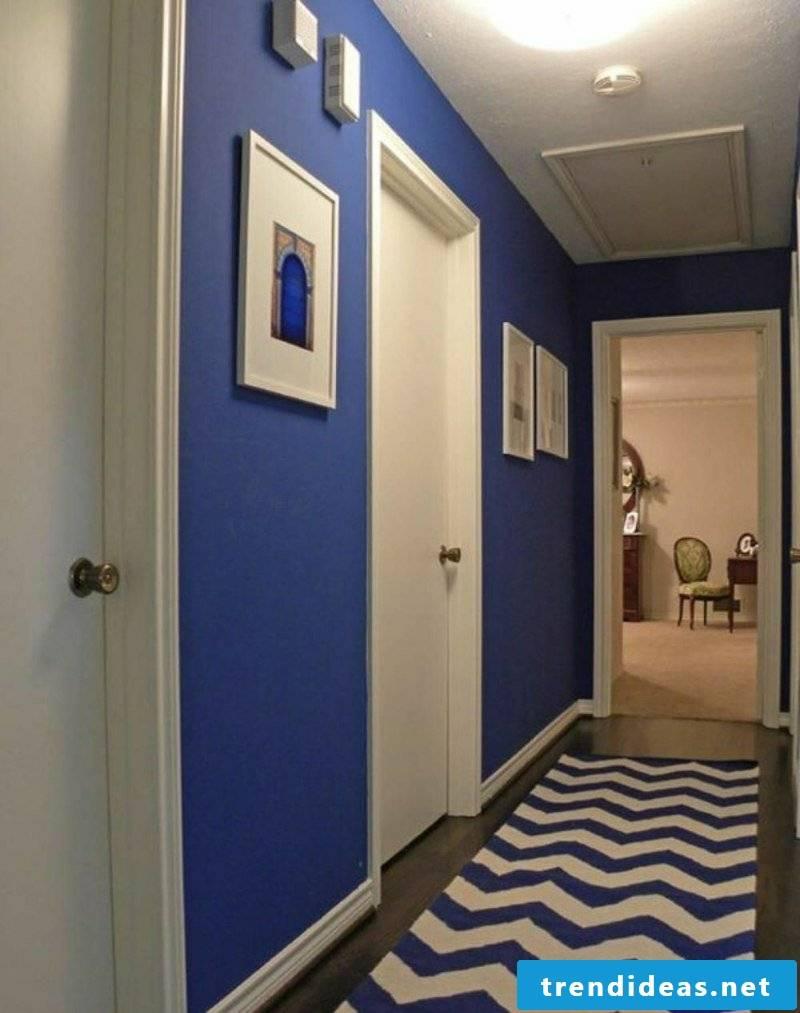 Color scheme in the corridor white and dark blue