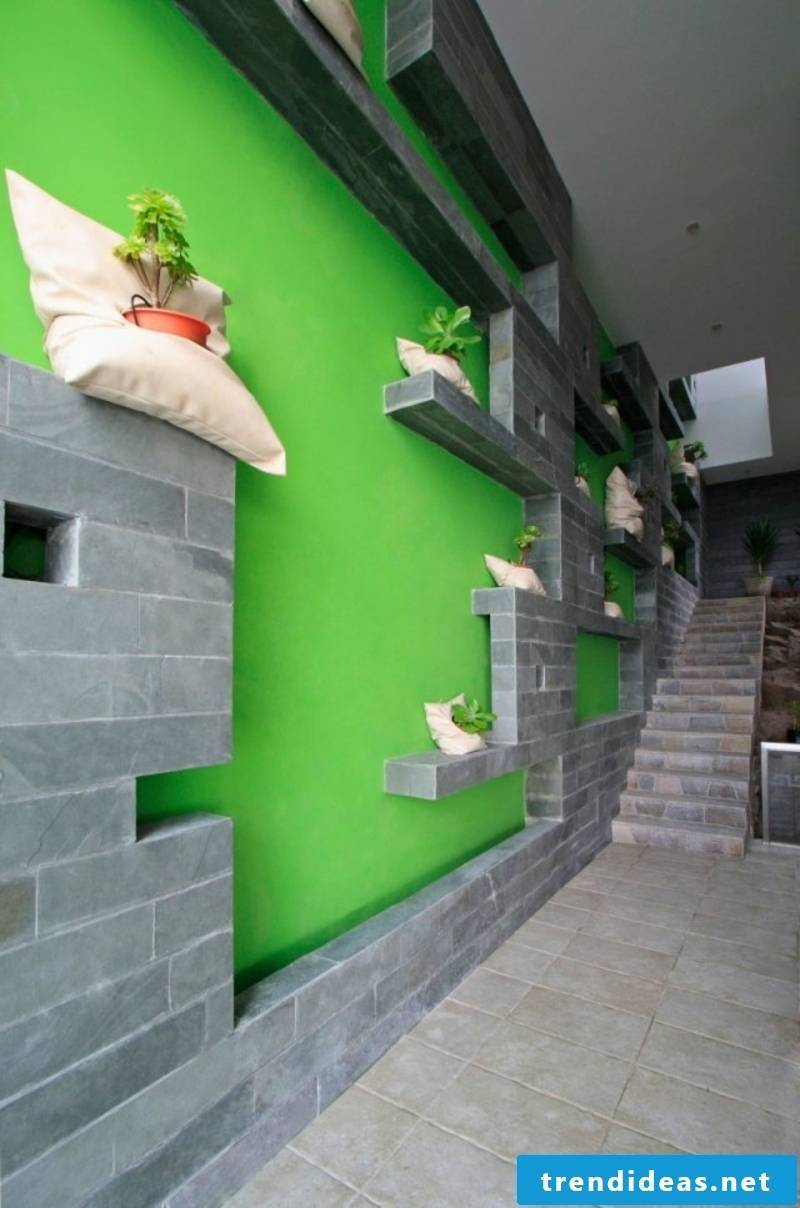 Hallway in gray and neon green