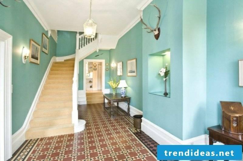 Hall in light blue