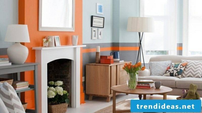 Wall color living room modern light blue gray orange