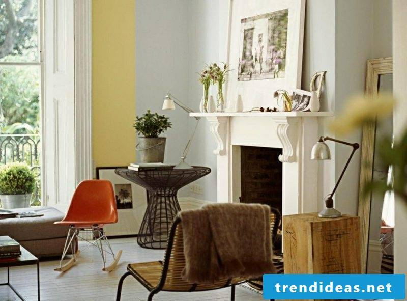 Wall design ideas living room delicate pastel shades