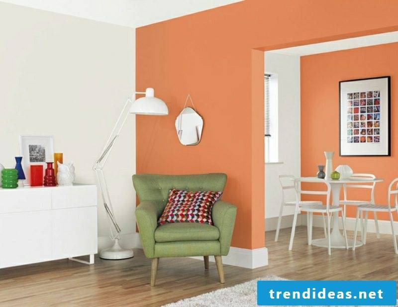 Wall Decoration Ideas Living Room Wall Colors White Orange