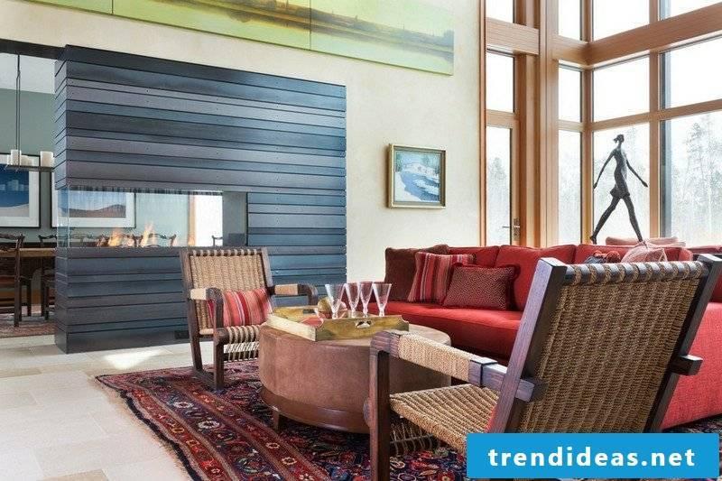 Terraccota color living room fireplace gray wood panels