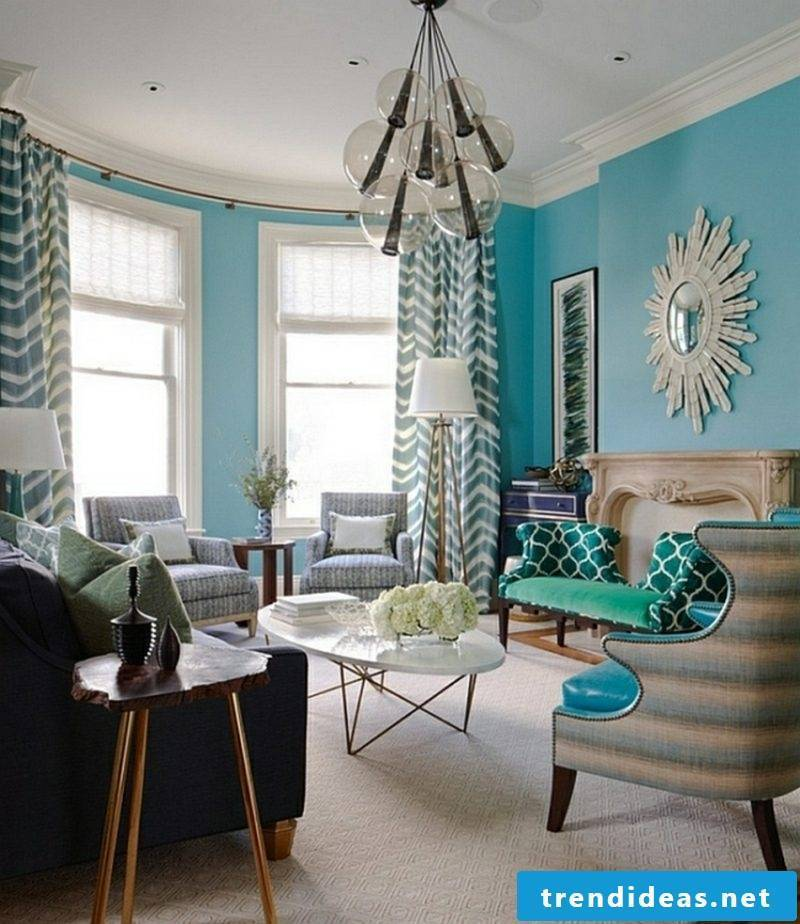 Wall color blue living room design ideas