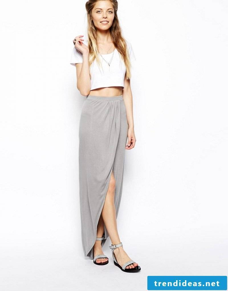 elegant long wrap skirt in gray