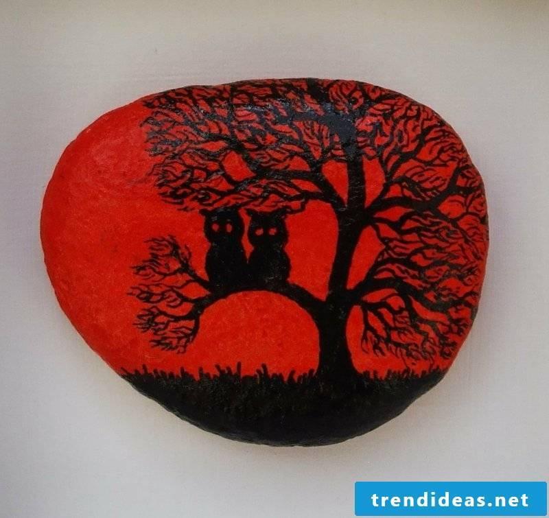 painted stones tree owl