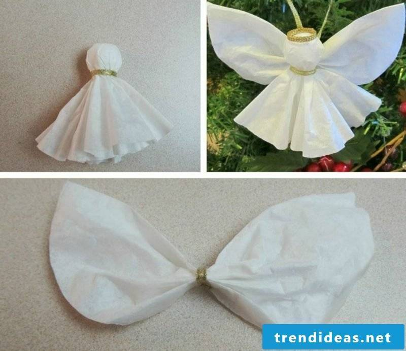Handicrafts for Christmas angels made of paper itself