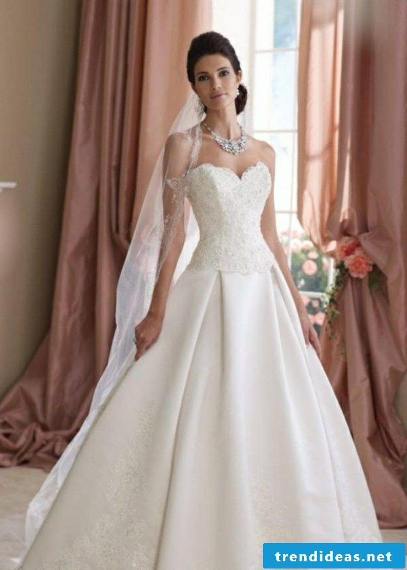 Wedding dress with lace top