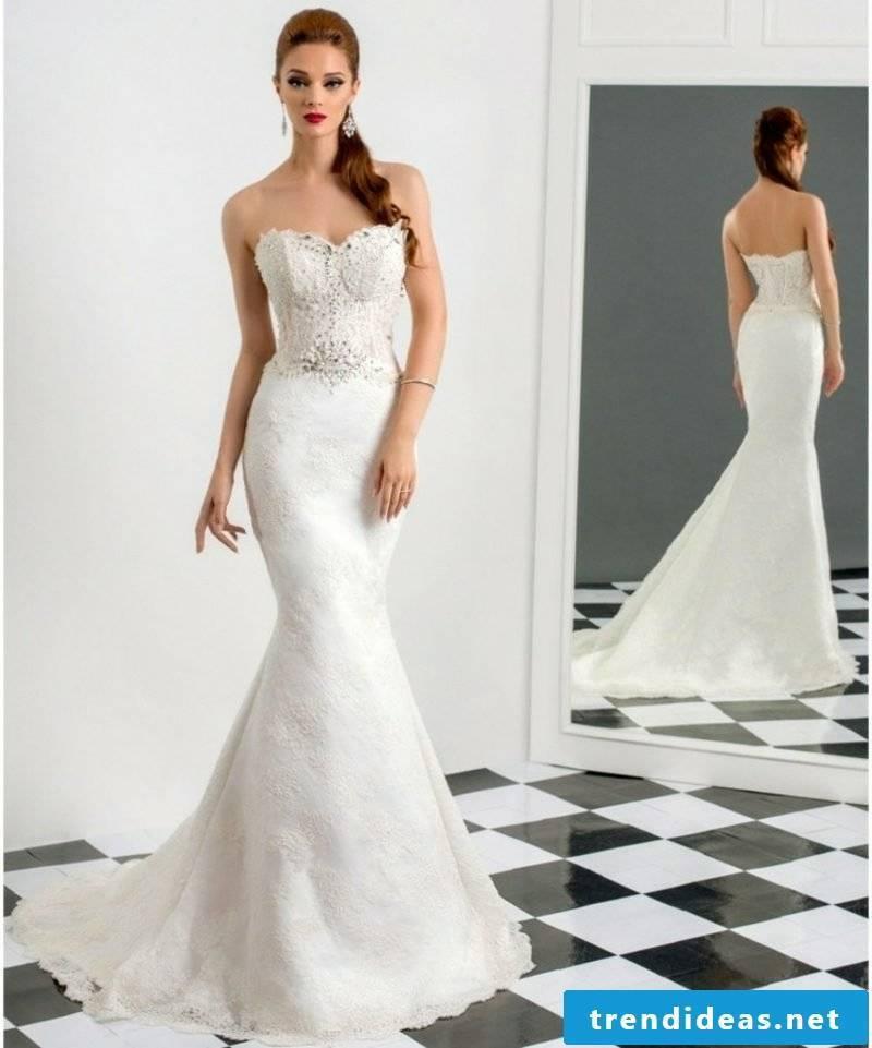 Mermaid cutout strapless wedding dress