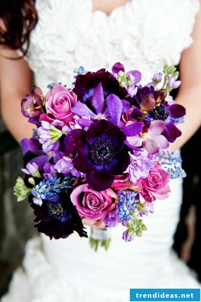 Wedding bouquet in purple