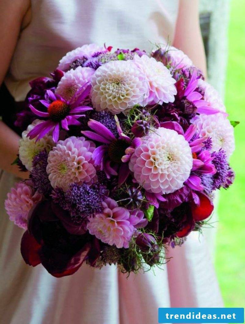 Wedding bouquet dahlias