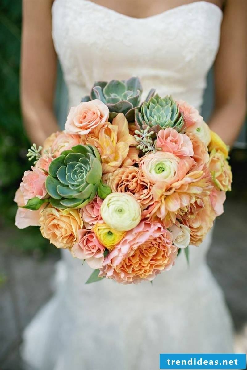 Bridal bouquet of seasonal flowers