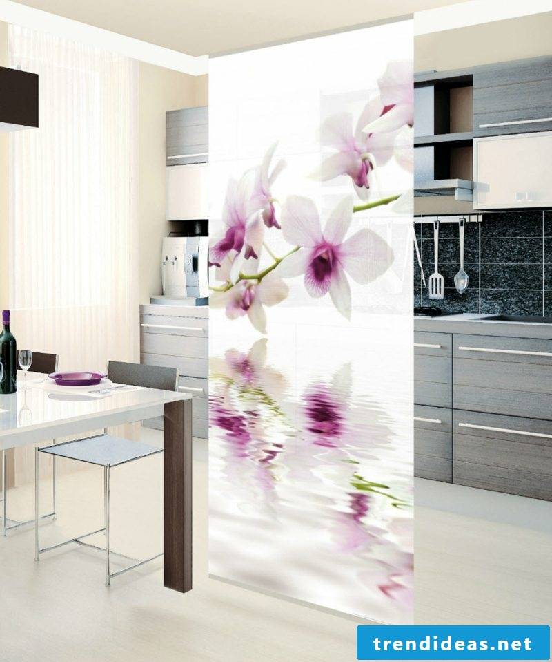 Room divider sliding curtain surface curtain orchid